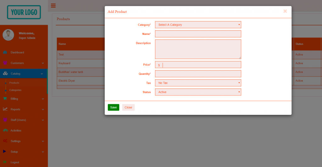 Invoice software - add product