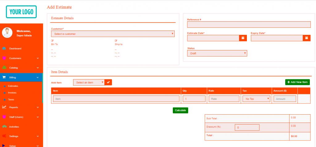 free invoice system add estimate